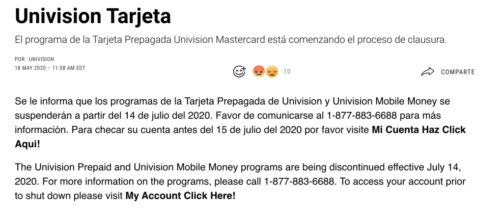 Univision cancela tarjeta prepagada Mastercard