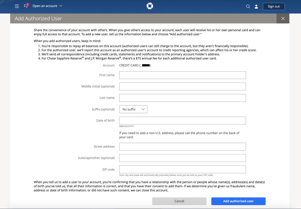 Cómo agregar un usuario autorizado a tu cuenta de Chase