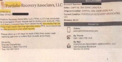 Eliminar a Portfolio Recovery de tu reporte de credito