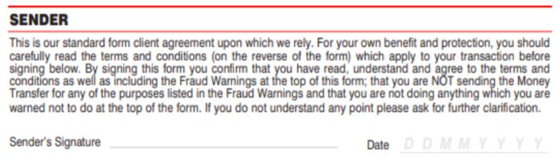 Formulario de envío de MoneyGram firma y fecha