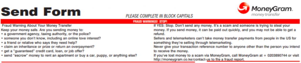 Formulario de envío de MoneyGram