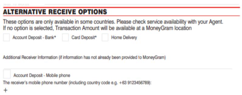 Formulario de envío de MoneyGram método de recepción de fondos