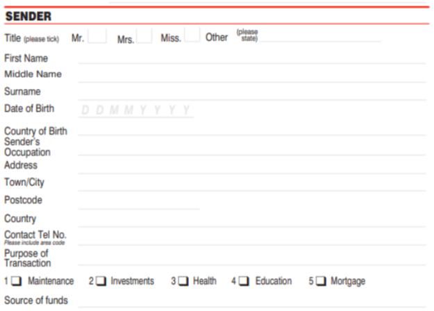 Formulario de envío de MoneyGram Remitente