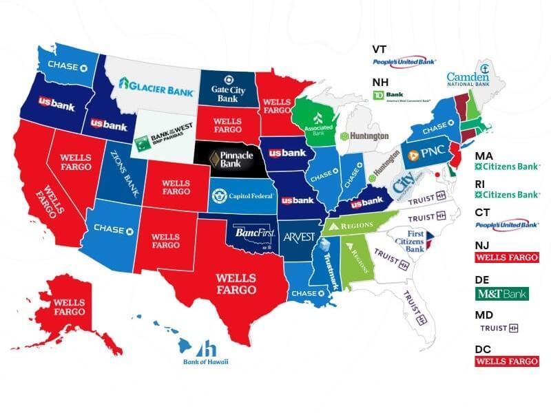 Los bancos más populares de USA, según cada estado