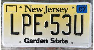 Placa de carro del estado de New Jersey