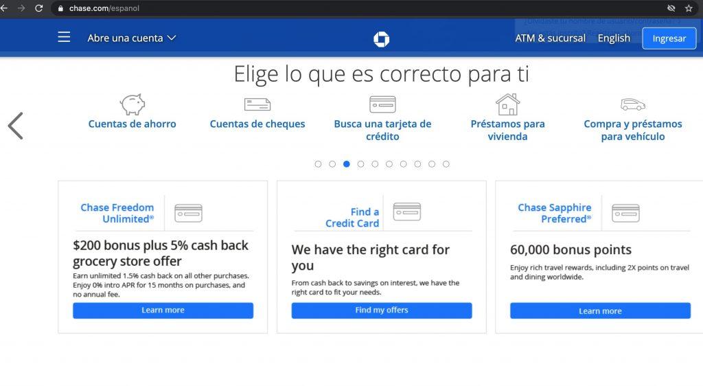 Sitio web Chase Bank en español