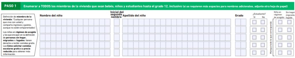 Tabla para agregar miembros de la familia que cursan hasta 12vo grado