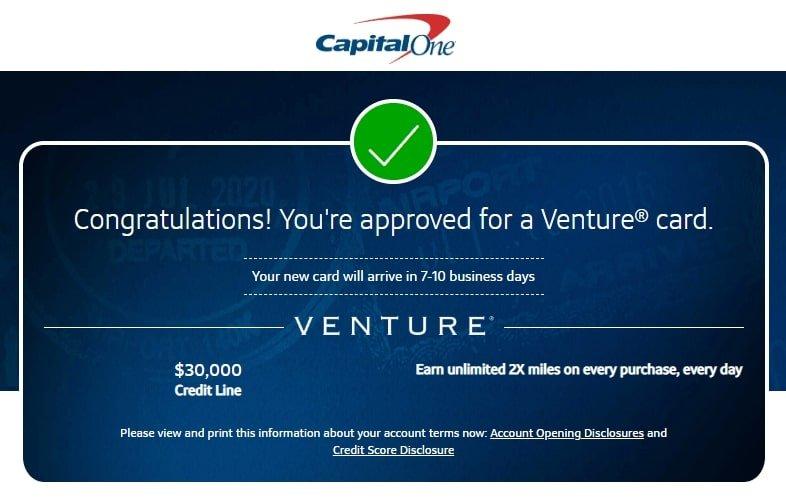 Tarjeta de crédito Capital One aprobada