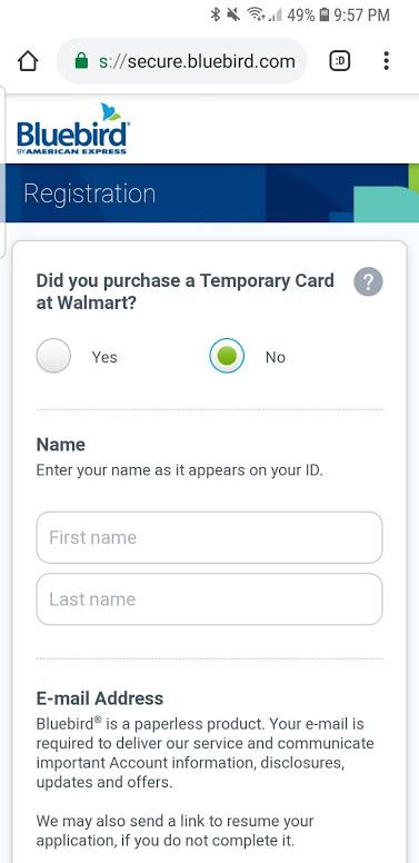 bluebird registrarse en la aplicación